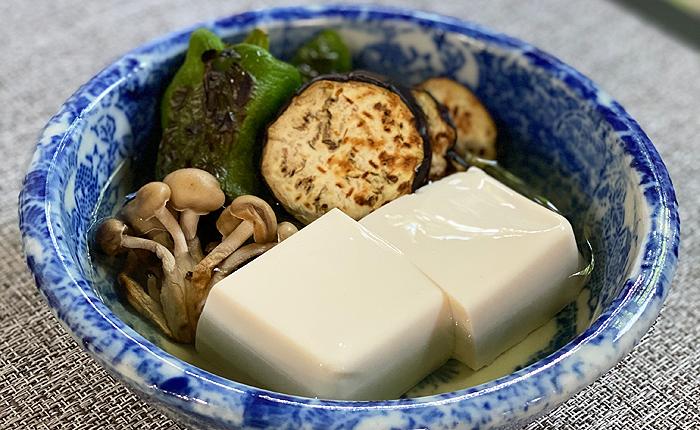 柚子豆腐と夏野菜のつゆ寄せ
