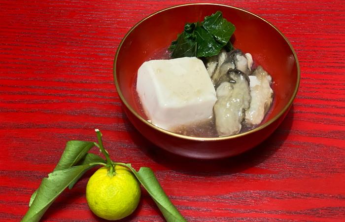 絹ごし豆腐でつくる牡蠣豆腐