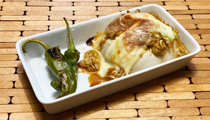 充填豆腐のねぎ味噌チーズ焼き